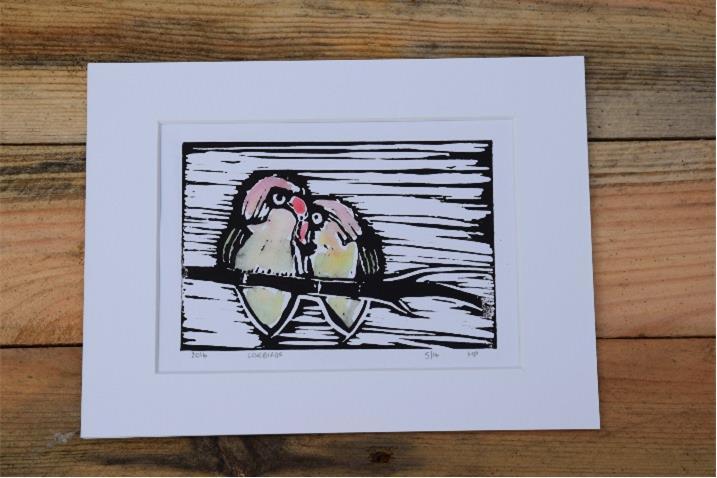 Love Birds Linocut Print