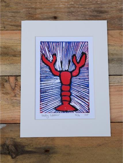 Lobster Linocut Print