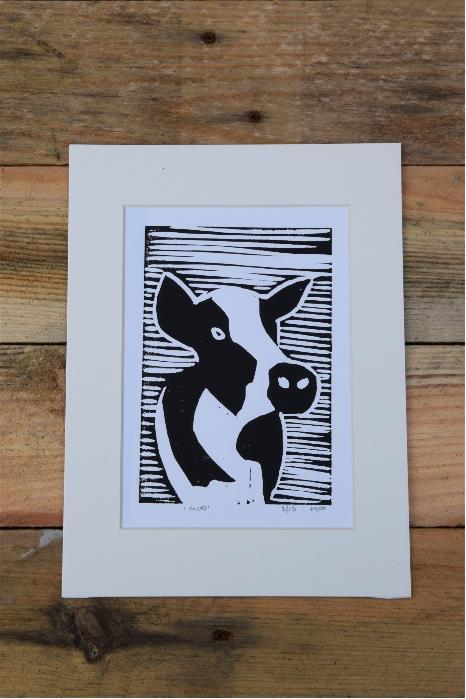 Cow LInocut Print