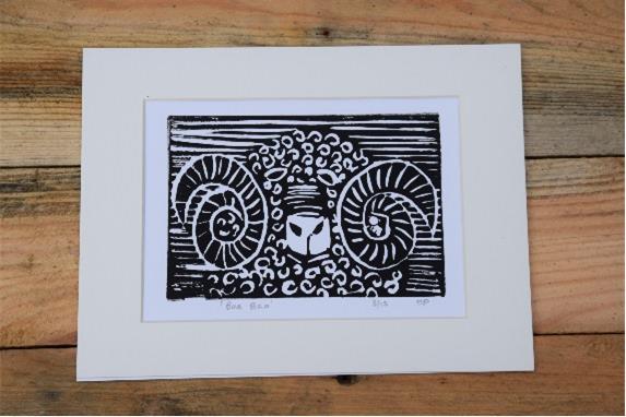 Ram Linocut Print