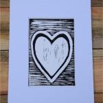 White Heart Lino Print