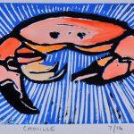 Camille Crab Lino Cut